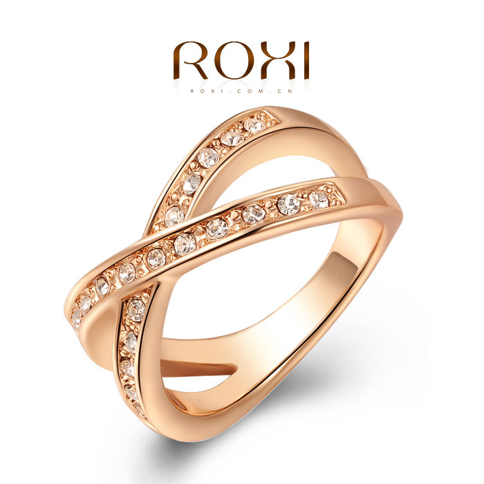 ROXI Exquisite Rose Golden Wedding Ring Platinum Plated With AAA ...
